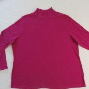 Laura Scott Women Top 20- 22W Fucshia Long Sleeves